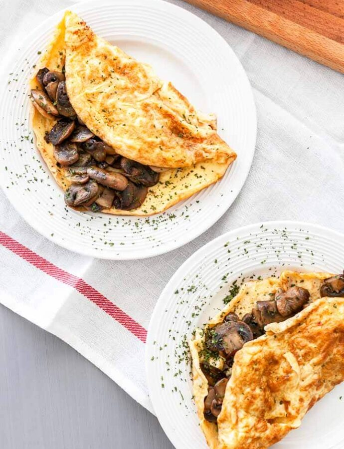 French omelette with mushrooms