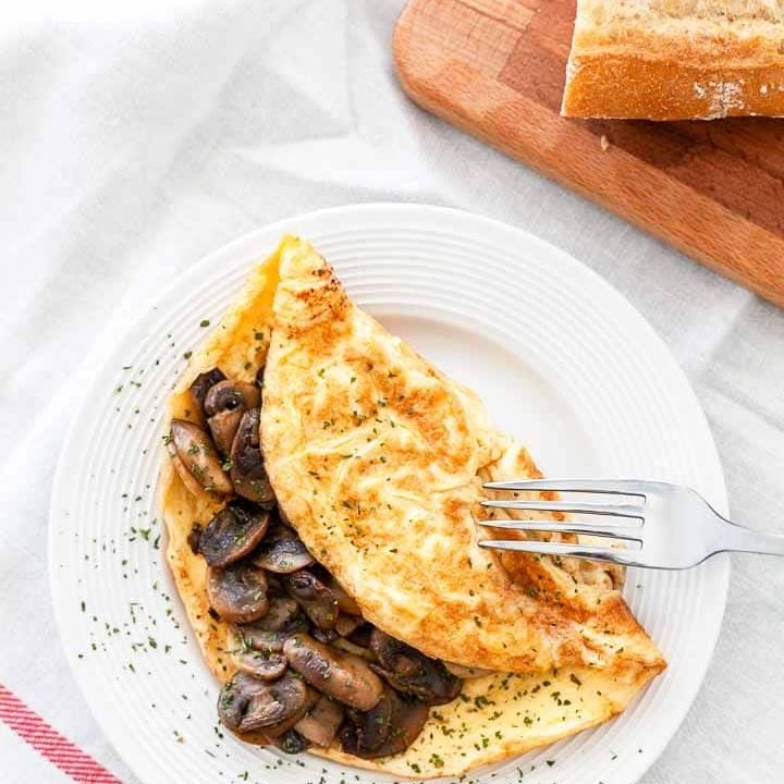 French Omelette With Mushrooms Fast Food Bistro