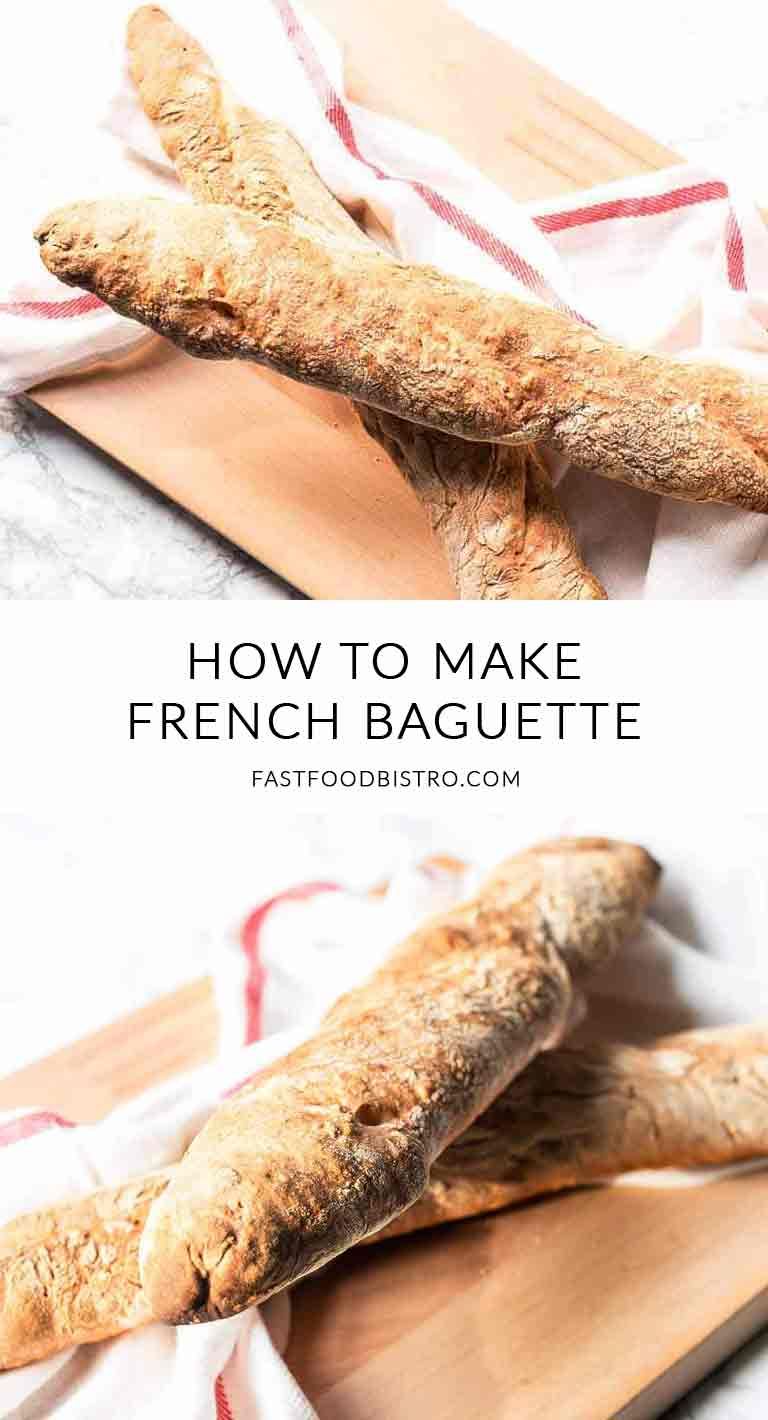 Looking for a homemade crusty French baguette? Take a look at the French baguette recipe. A handful of ingredients and easy to make. Visit fastfoodbistro.com for the full recipe. #frenchbaguette #baguette #frenchbaguetterecipe #bread #breadrecipe