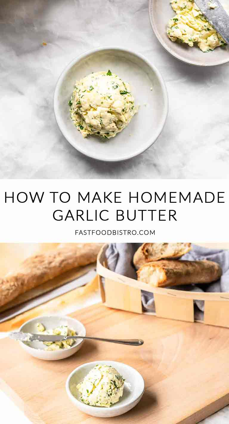 Looking for a super easy homemade garlic butter? Try this garlic butter recipe. Add as much garlic as you like or substitute with garlic paste or garlic powder. Visit fastfoodbistro.com for the full recipe #fastfoodbistro #garlicbutter #homemadegarlicbutter #condiment
