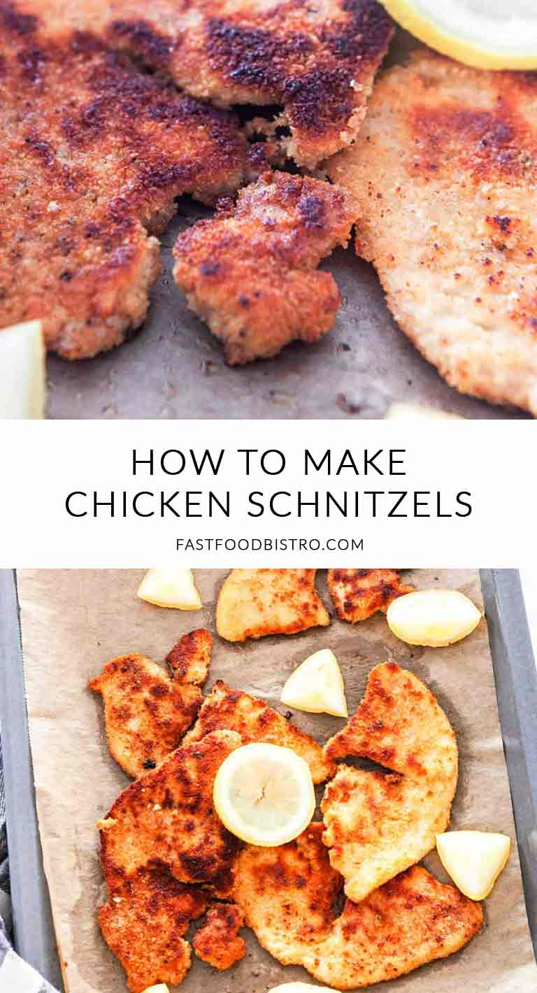 Looking for a simple and quick schnitzel recipe? Try these fast chicken schnitzels, done in less than 15 minutes. A great dinner recipe. Visit fastfoodbistro.com for the full recipe #fastfoodbistro #schnitzel #schnitzelrecipe #chickenschnitzel #dinner #dinnerrecipe