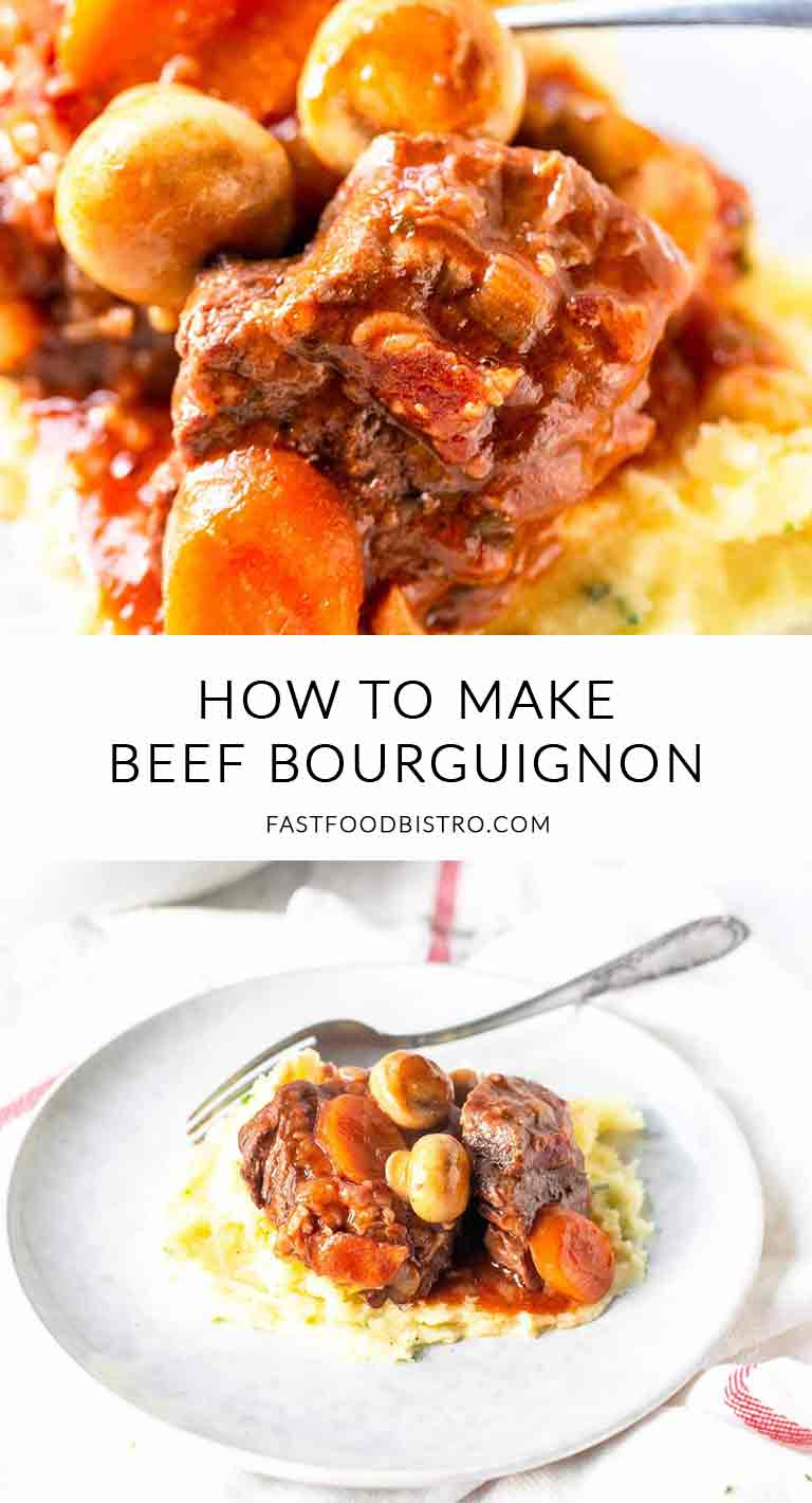 Looking for the best French beef stew? Take at this beef bourguignon recipe made with the Crockpot Express pressure cooker. Quick and simple dinner recipe. Visit fastfoodbistro.com for the full recipe and instructions #fastfoodbistro #beefbourguignon #frenchbeefstew #beefstew #crockpotbeefstew