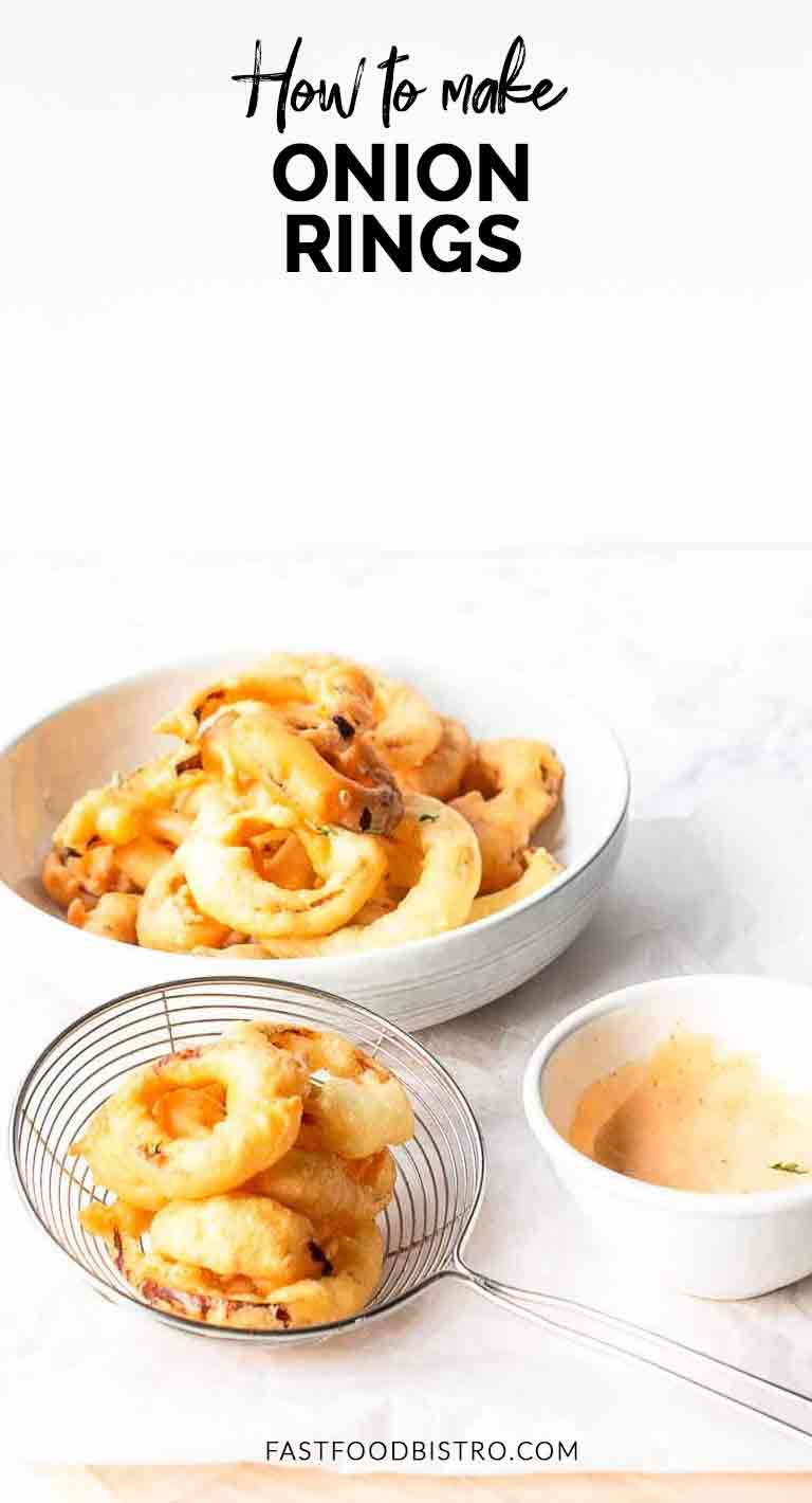 Looking for a great fried snack? Take a look at this onion rings recipe. Easy to make yields a ton from just one onion and great to serve at a party or game. Visit fastfoodbistro.com for the full recipe #fastfoodbistro #onionrings #onionringsrecipe #snack #tapas