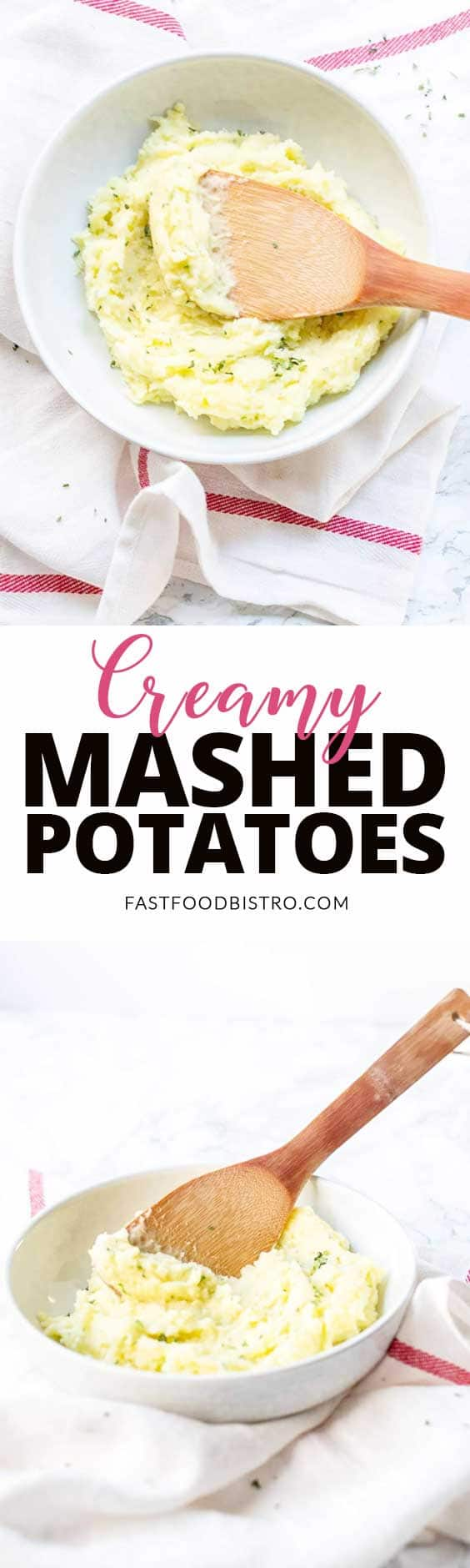 Looking for fast and easy mashed potatoes? Try this creamy mashed potato recipe that is on the table in no time. You can make it with or without dairy. Super tasty and it even has a slow cooker option. Visit fastfoodbistro.com for the full recipe #fastfoodbistro #creamymashedpotatoes #mashedpotatoes #mashedpotatoesrecipe #sidedish #fastsidedish #fastmashedpotatoes