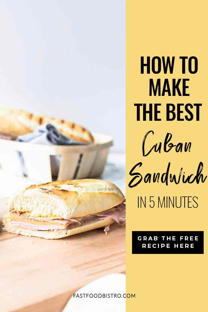 Looking for a simple and quick sandwich? Try this Cuban sandwich recipe. The Cubano sandwich has it all. Made with soft white bread, pork meats and cheese. Try it! Visit fastfoodbistro.com for the full recipe #fastfoodbistro #cubansandwich #cubanosandwich #lunch #sandwichrecipe