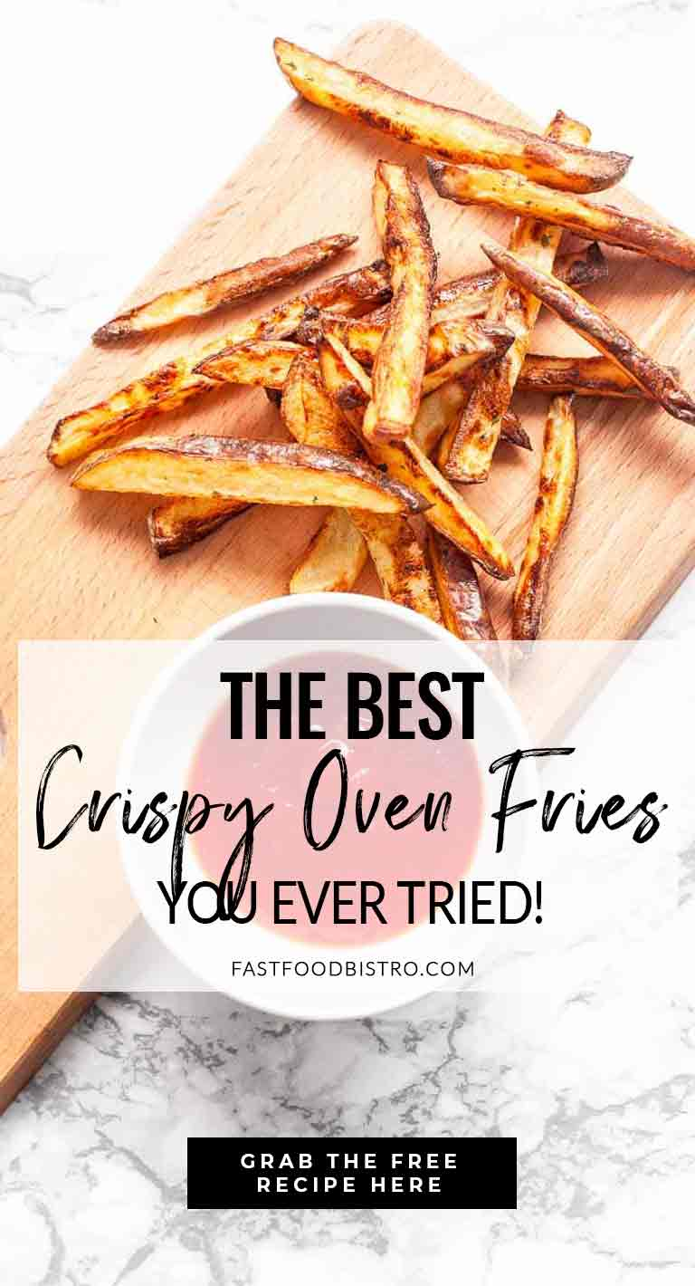 Looking for delicious fries? Take a look at this extra crisp oven fries recipe. Done in no time. Visit fastfoodbistro.com for the full recipe #fastfoodbistro #fries #frites #crispovenfries #ovenfries