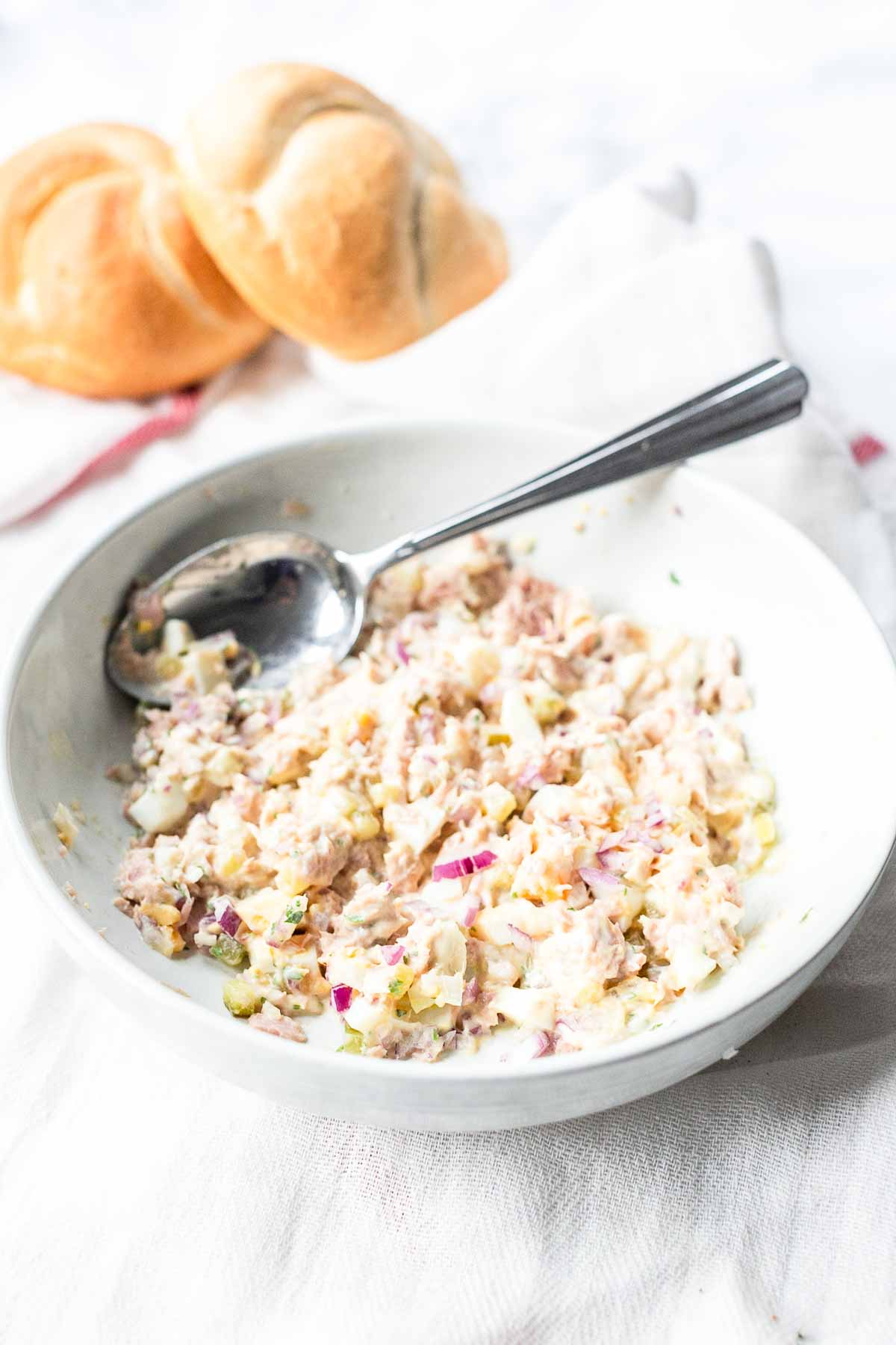 The best tuna salad is a made with pickle and egg. Great salad to serve with toast, crackers or bread. Visit fastfoodbistro.com for the full recipe #fastfoodbistro #tunasalad #tunasaladrecipe #tuna #salad
