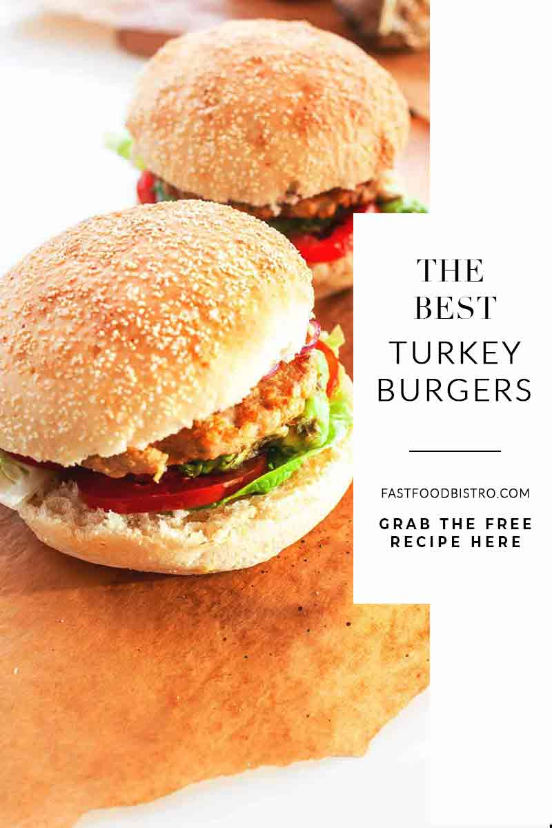 The best turkey burgers on the grill? Try this easy turkey burger recipe. Healthy burgers with avocado, lettuce and tomato. Visit fastfoodbistro.com for the full recipe #fastfoodbistro #turkeyburger #grilledburger #BBQburger