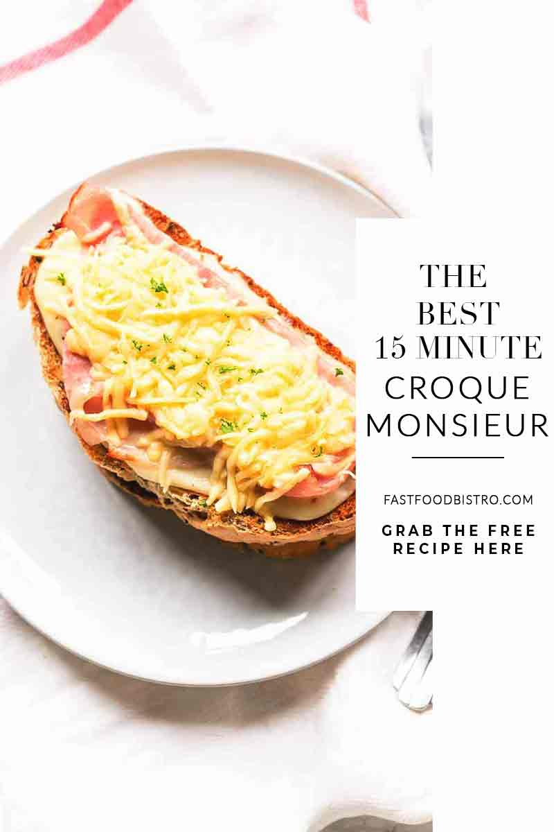 This Croque Monsieur recipe is a classic must have for your bistro menu. It is super easy to make and on the table in no time. Vist fastfoodbistro.com for the full recipe #fastfoodbistro #croquemonsieur #croquemonsieurrecipe #grilledhamandcheesesandwich #croquemonsieursandwich