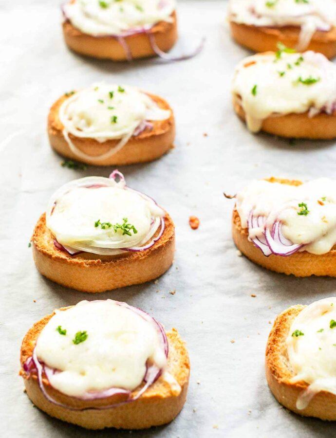 Cheese Onion Crostini
