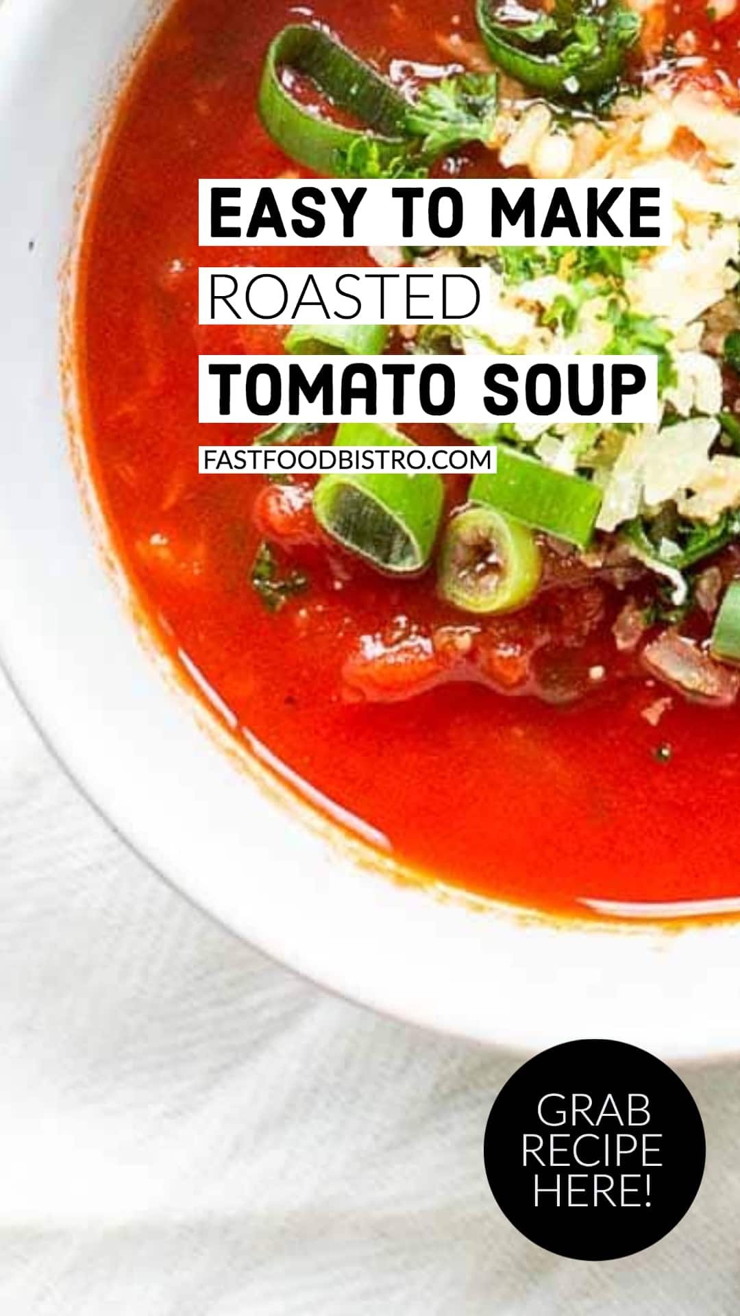 Homemade roasted tomato soup that is done in less than 30 minutes. Serve as a full meal, starter or lunch. This rustic tomato soup is easy to make and super tasty. Vist fastfoodbistro.com for the full recipe #fastfoodbistro #roastedtomatosoup #tomatosoup #homemadesoup